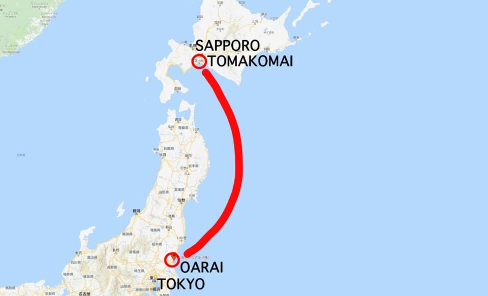 oarai to Tomakomai ferry