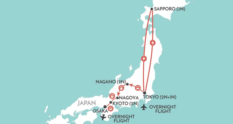 Tokyo - Sapporo Map