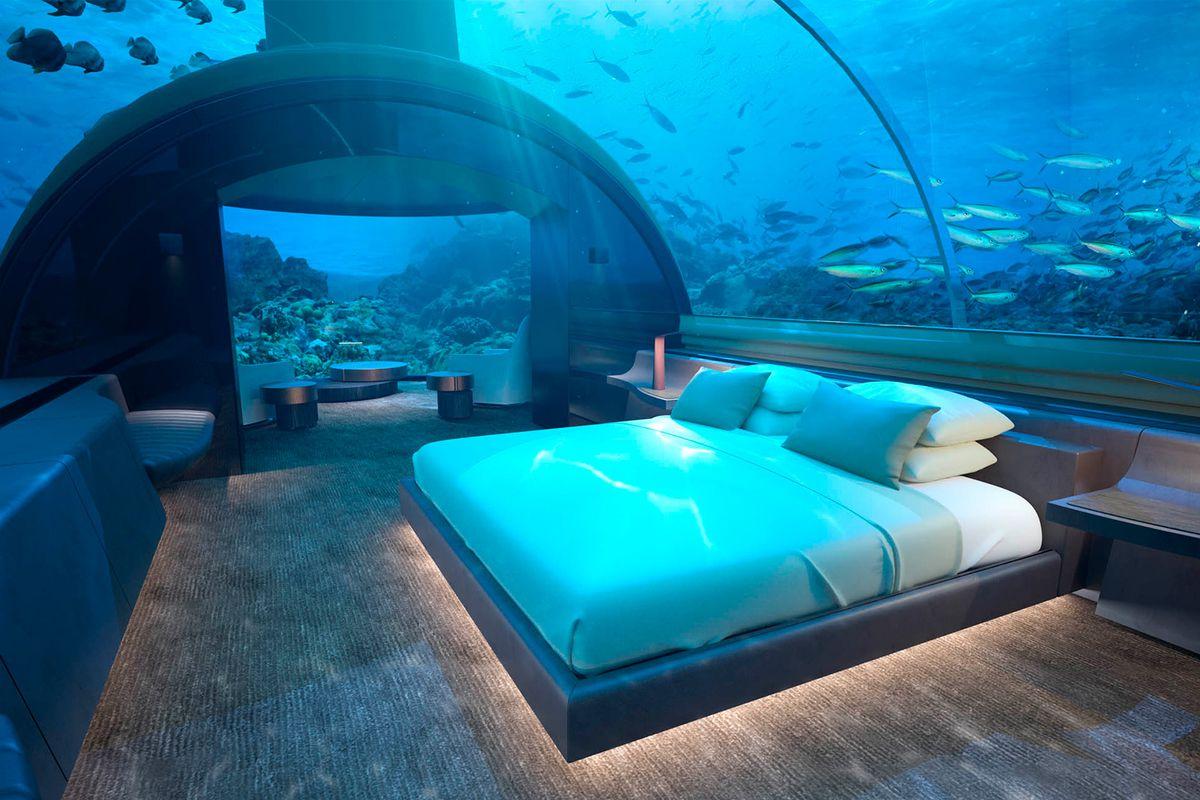 Underwater hotel villa in Maldives
