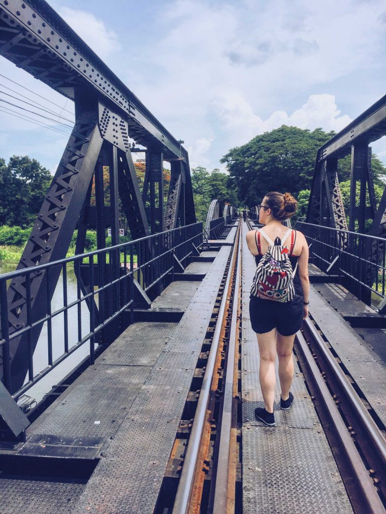 Walking the bridge on the river Kwai in Kanchanaburi