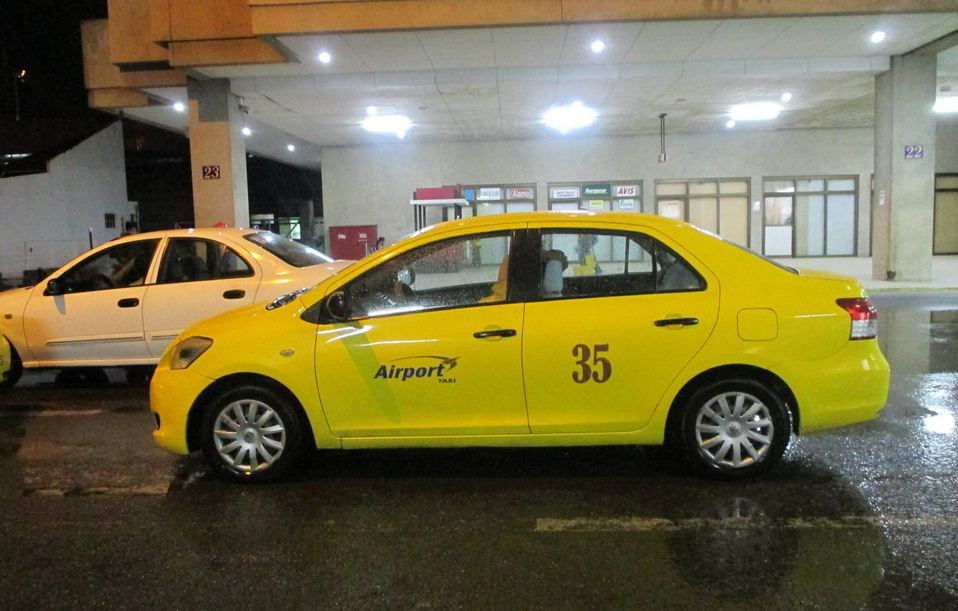 yellow airport taxi