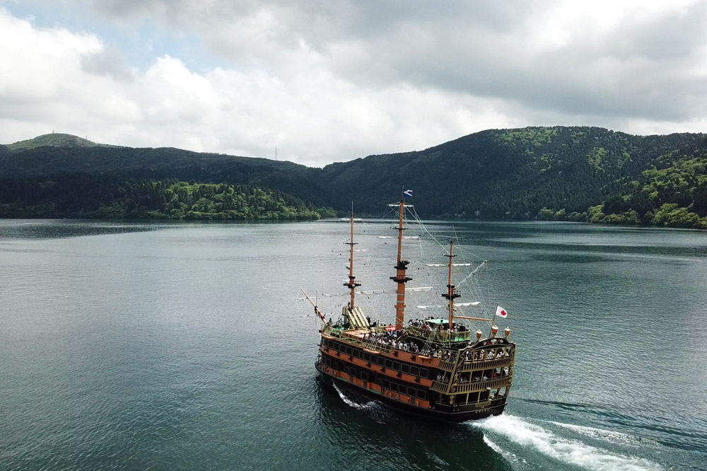 Pirate ship ferry crossing Lake Ashi in Hakone, Japan