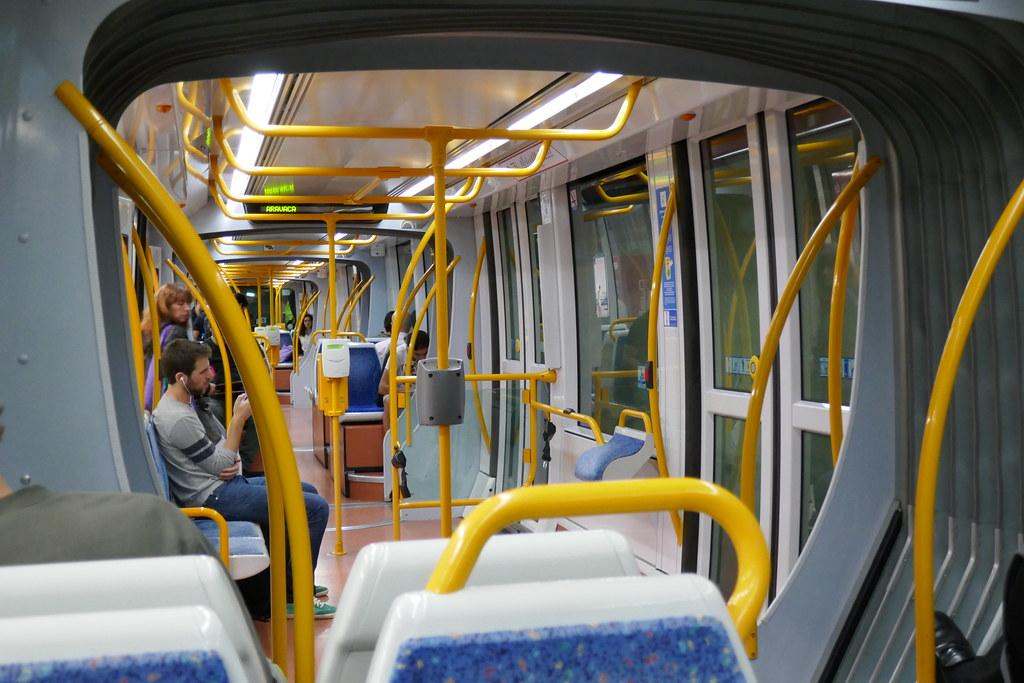 Inside Metro Ligero Tram