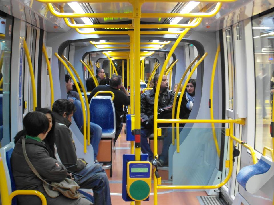 Inside Metro Tram