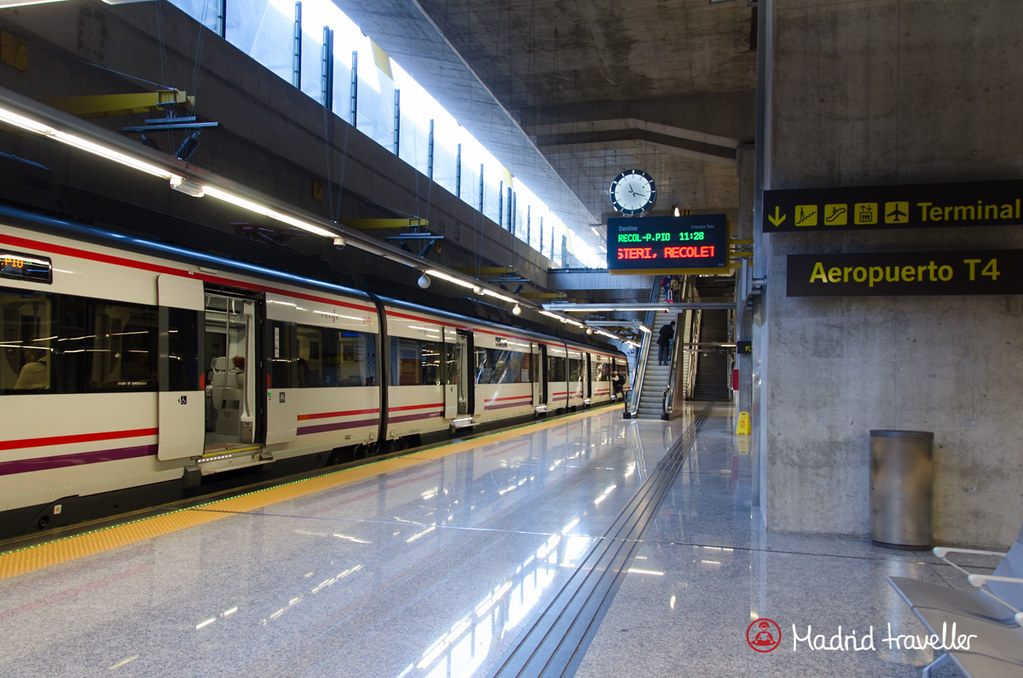 The Madrid airport has one train station, located in Terminal 4 (T4), floor -1.