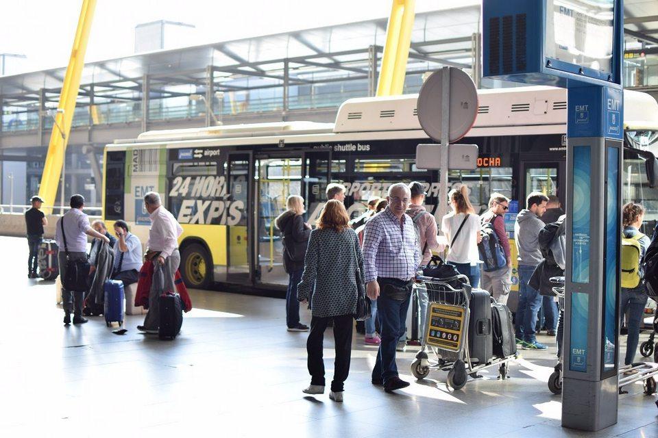 Express bus waiting on the platform