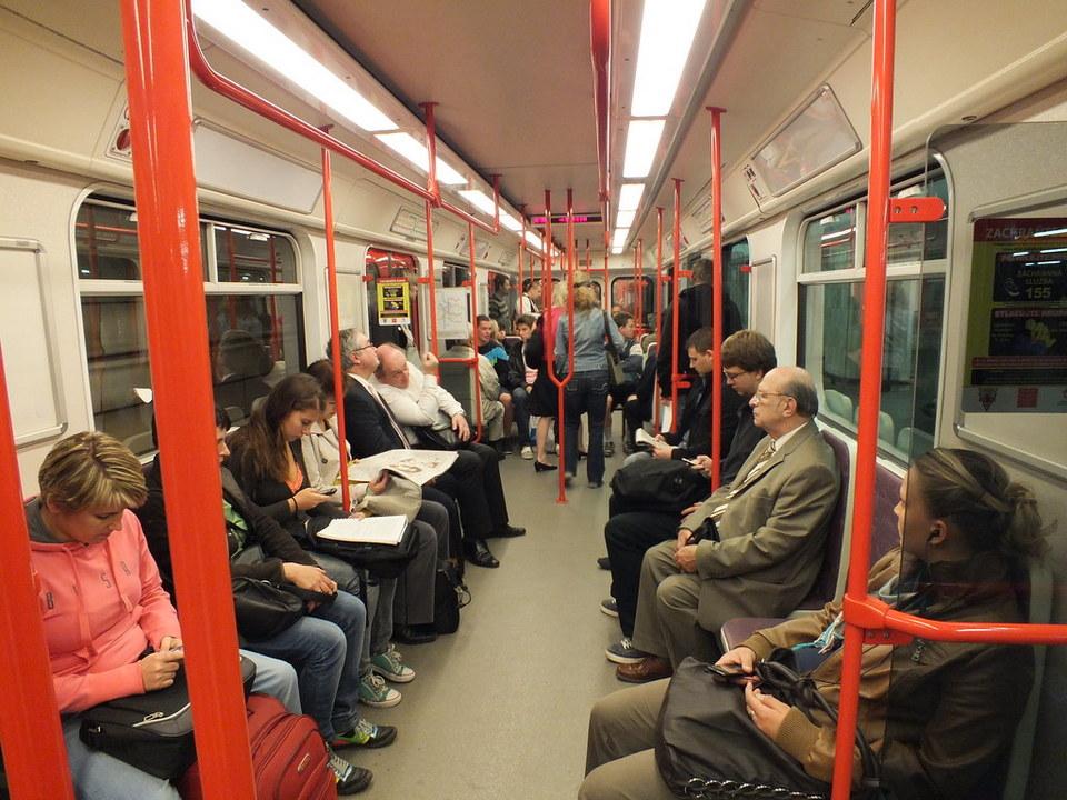 Inside a Prague metro train