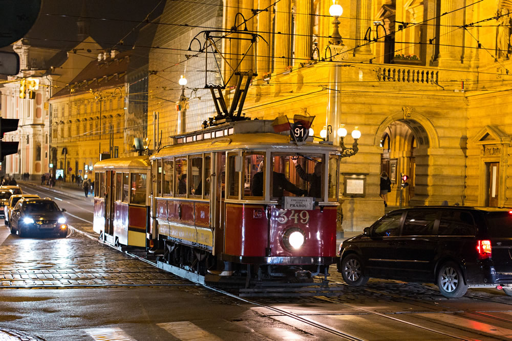Night Tram In Prague