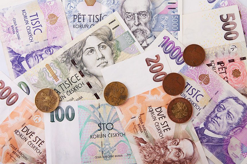 Czech currency: banknotes, coins
