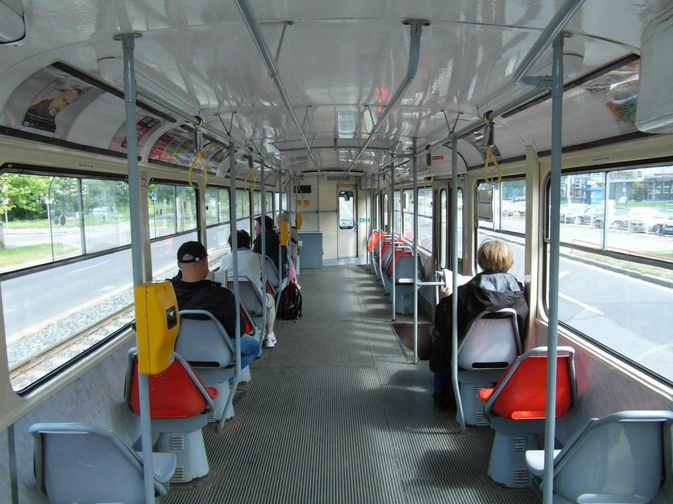 inside a tram in prague