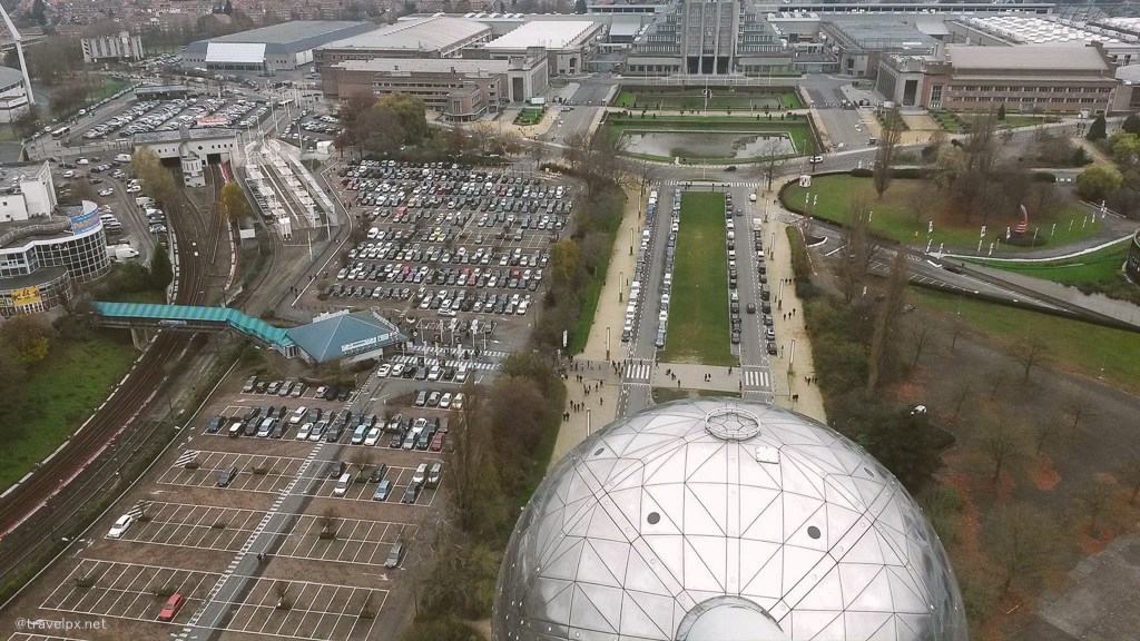 Brussels look down from Atomium