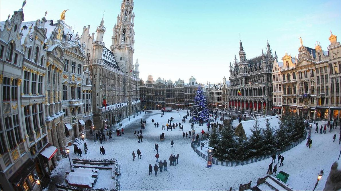 grand place in winter