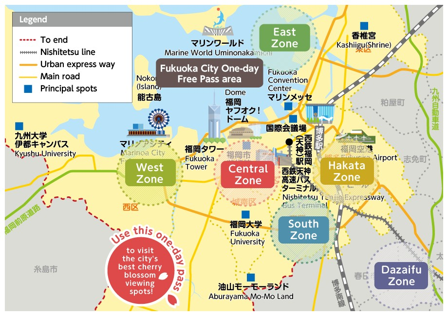 Nishitetsu Bus Sakura Map,fukuoka travel blog