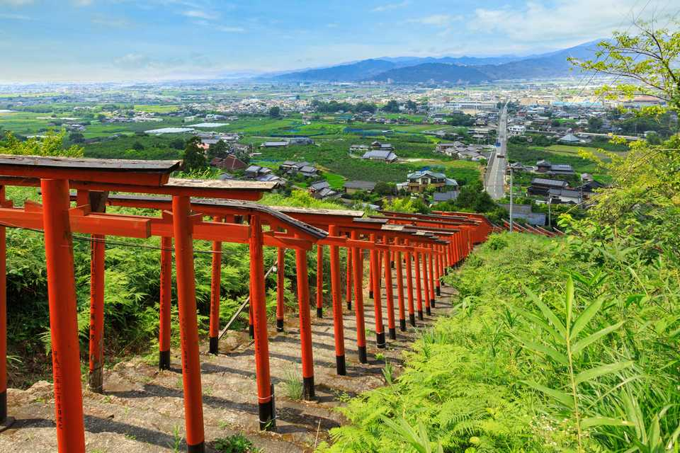 The extending torii gate and amazing view are something to see at Ukiha Inari Shrine