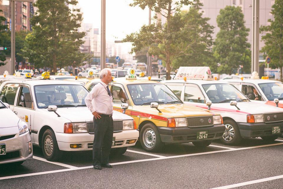 Taxis parking at Fukuoka Hakata Station