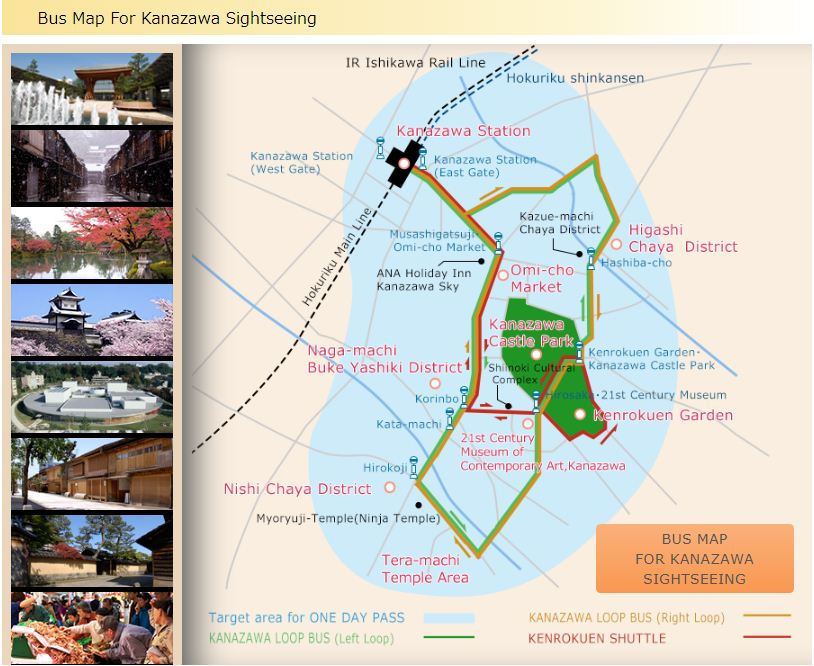 Bus Map For Kanazawa Sightseeing