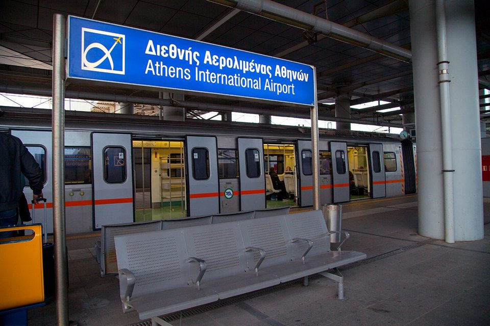 Athens airport metro train waiting on the platform
