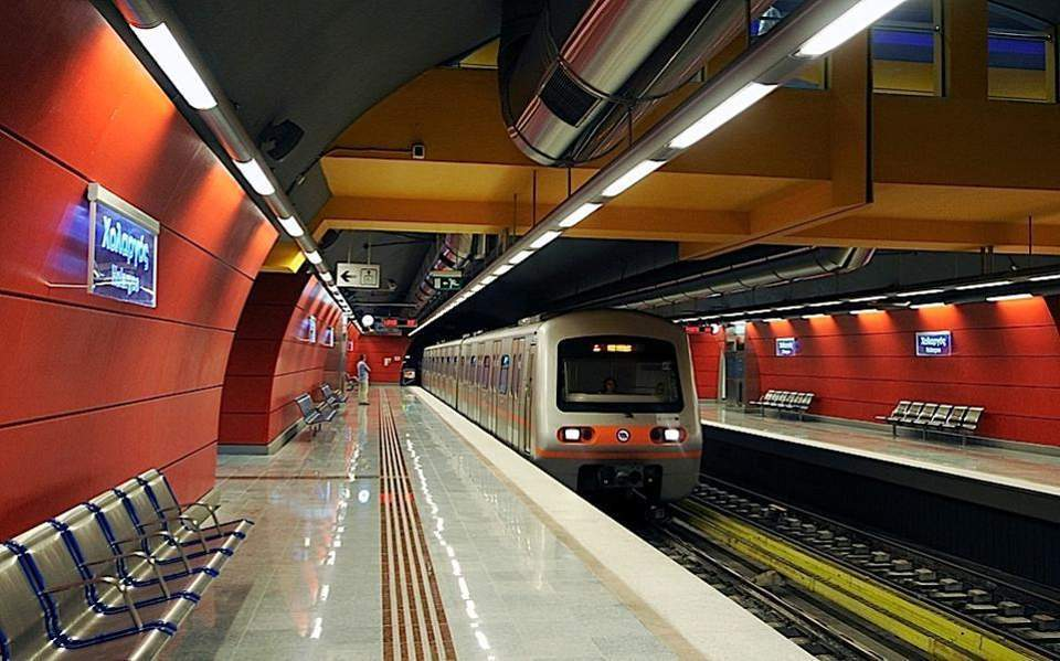 Athens airport metro train waiting on the platform25