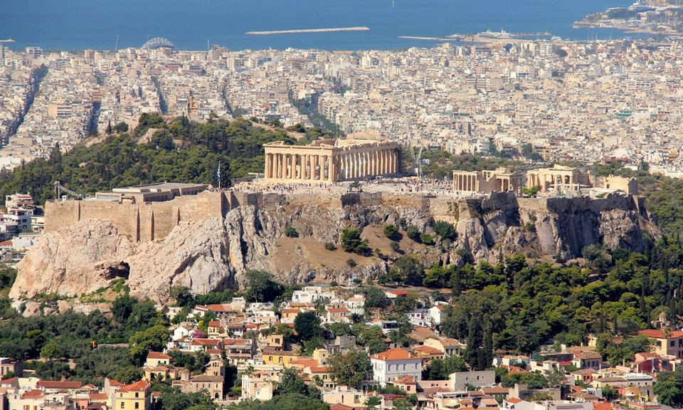 An aerial view of the Acropolis in Athens.