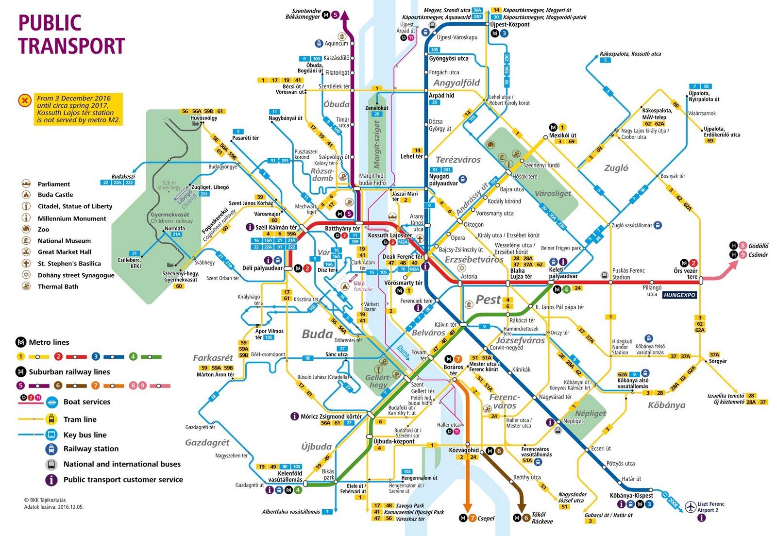 Budapest public transport map