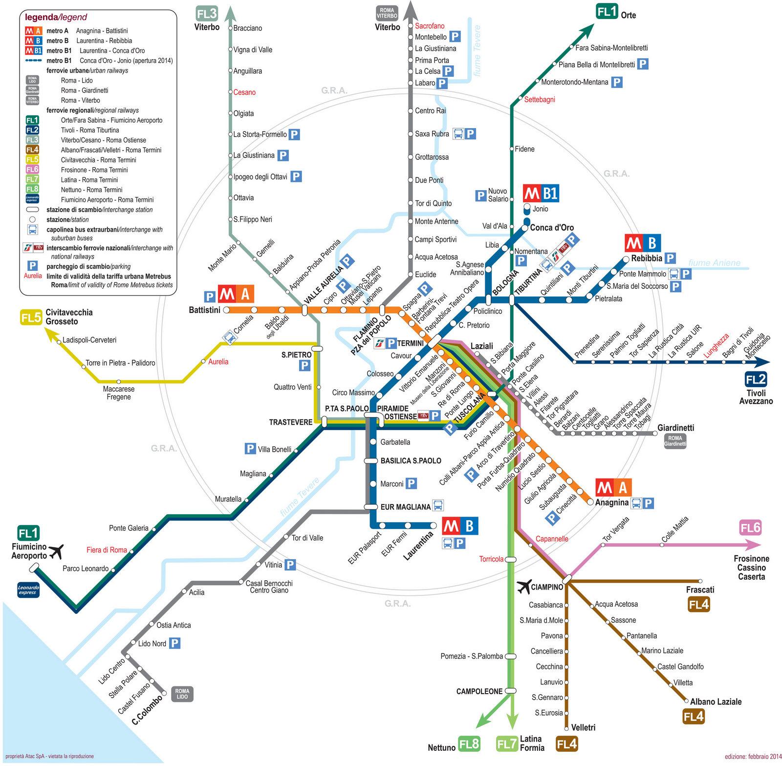 Map of Rome subway, tube & underground ATAC network