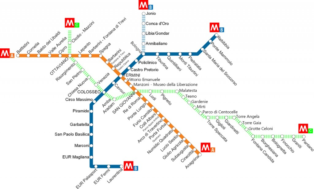 Rome metro station map with stops