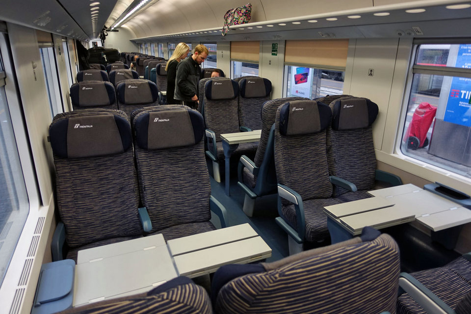 inside Trenitalia Train in Italy