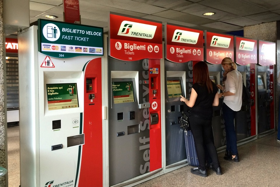 Train ticket vending machines at Termini Station