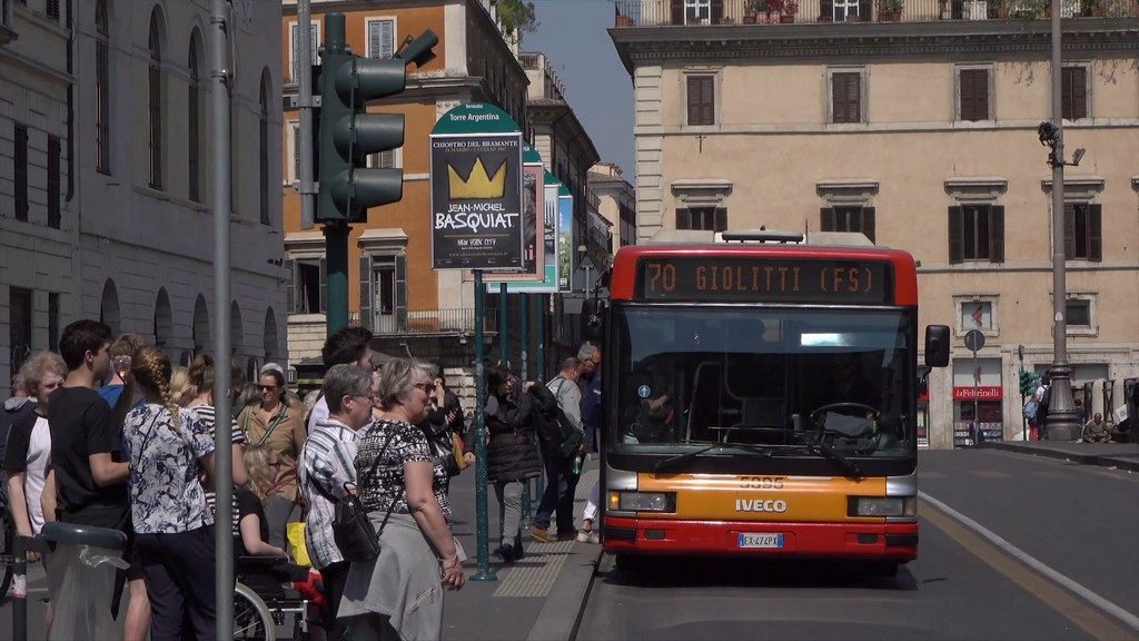 Public bus arrives at bus stop for passengers, Rome, Italy Stock Video Footage - Storyblocks Video