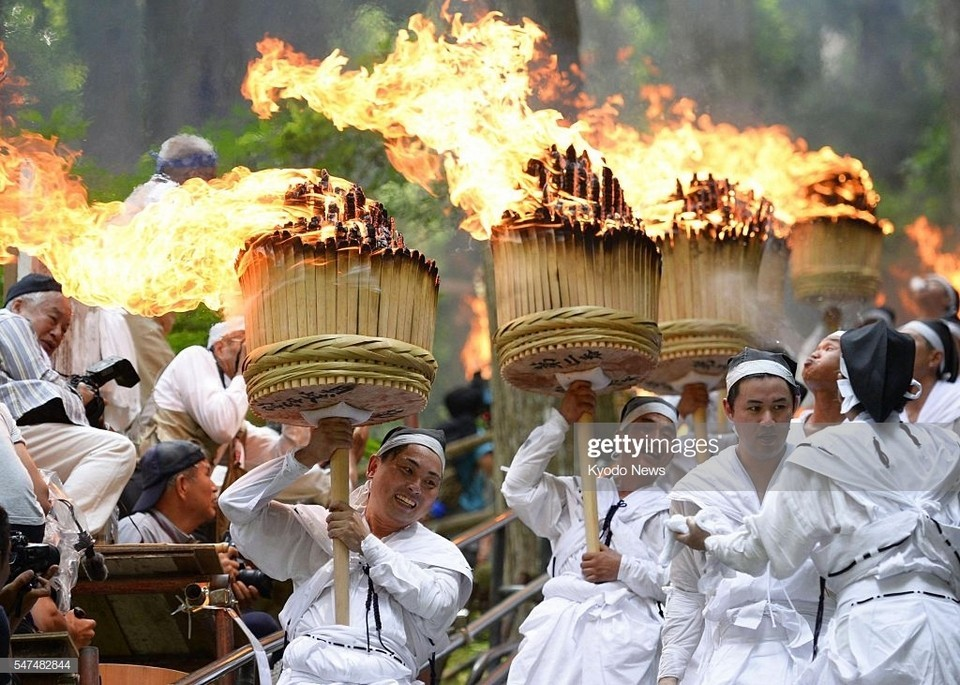 Annual Nachi Fire Festival in western Japan