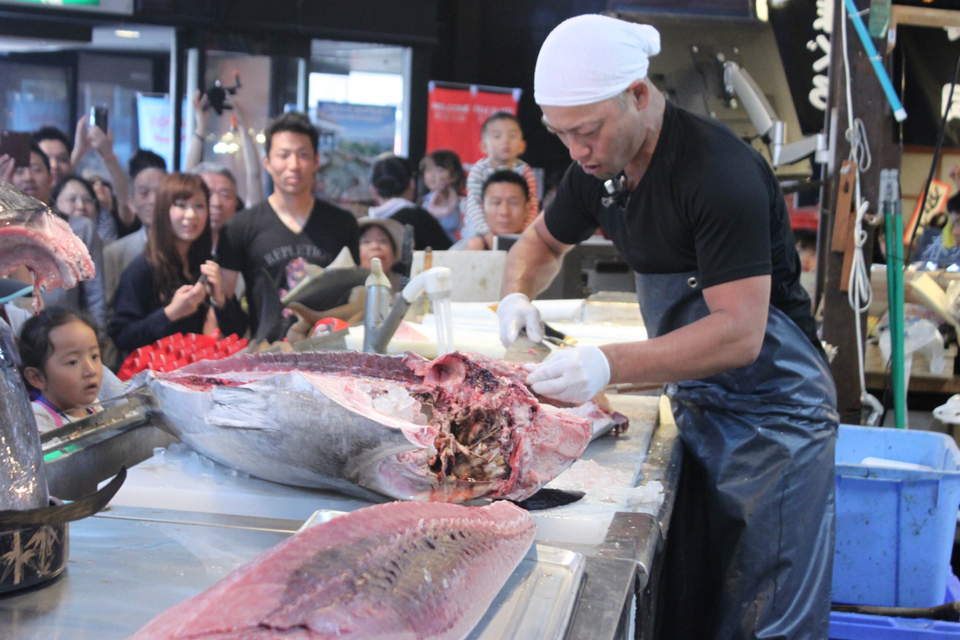 tuna cutting show at kuroshi fish market