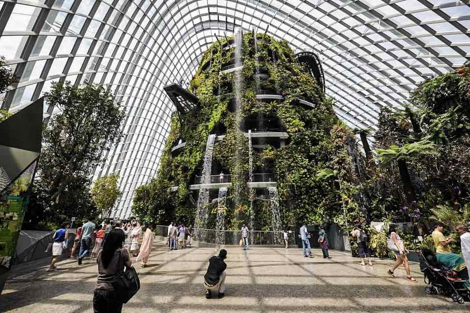 Cloud Forest waterfall in Singapore's Gardens by the Bay