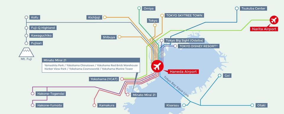 The map of Haneda, Narita Airport and Tokyo Disney Resort