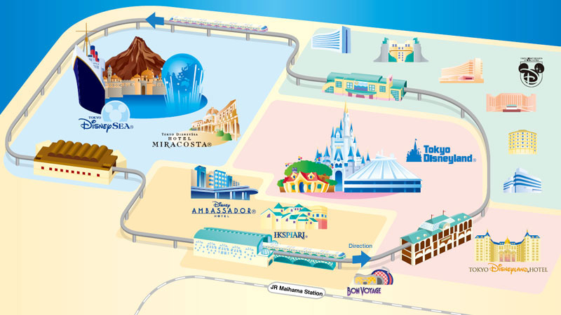 Map of Monorail at Tokyo Disney Resort