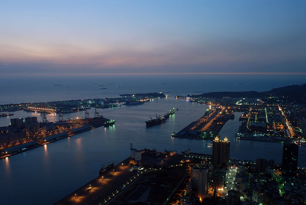 View of Kaohsiung seaport from Tuntex Sky Tower observation deck.