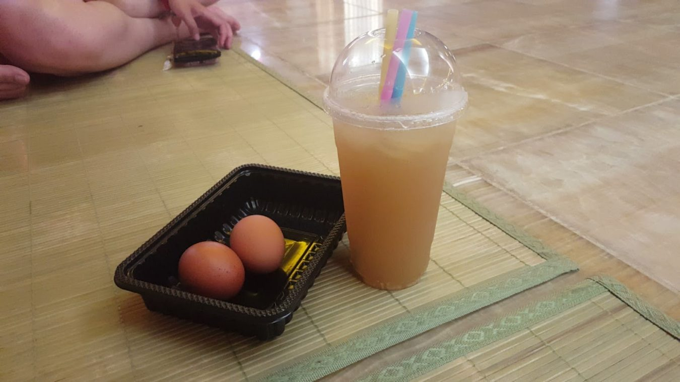 boiled eggs and rice drink