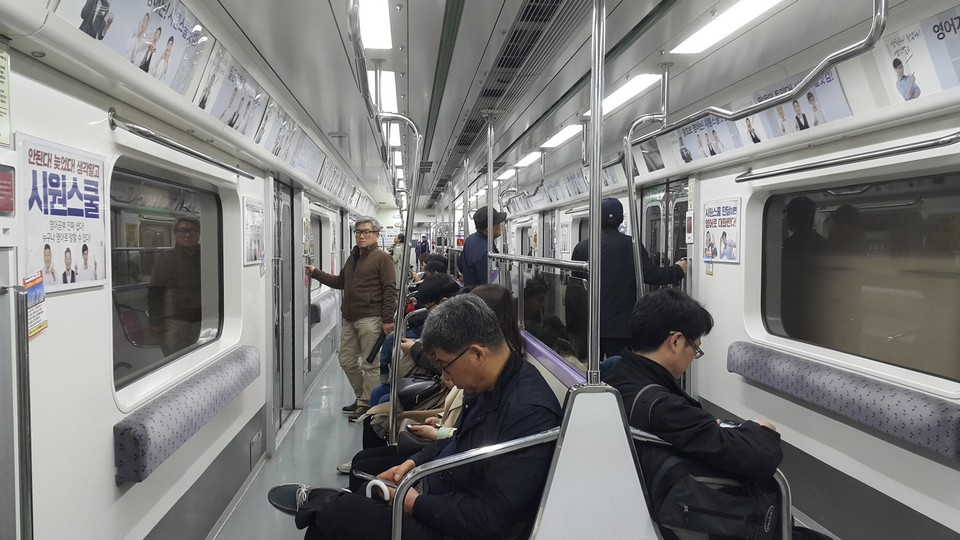 inside seoul subway train