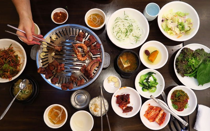A delicious barbecue meal at a Korean family restaurant.