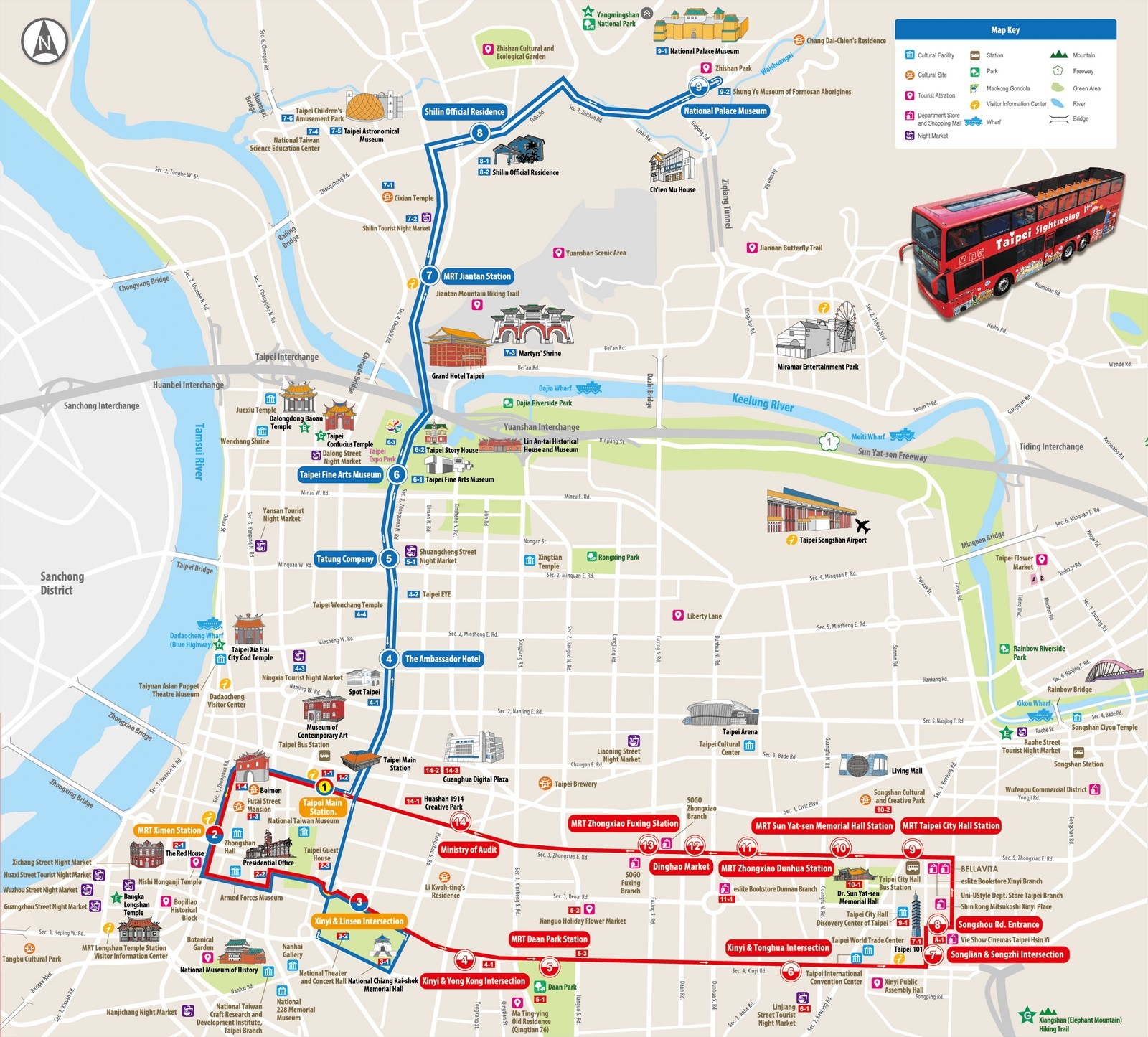 taipei hop on hop off bus map