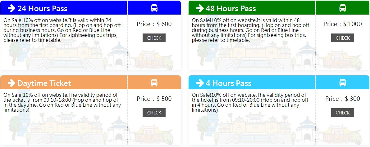taipei hop on hop off bus tickets types