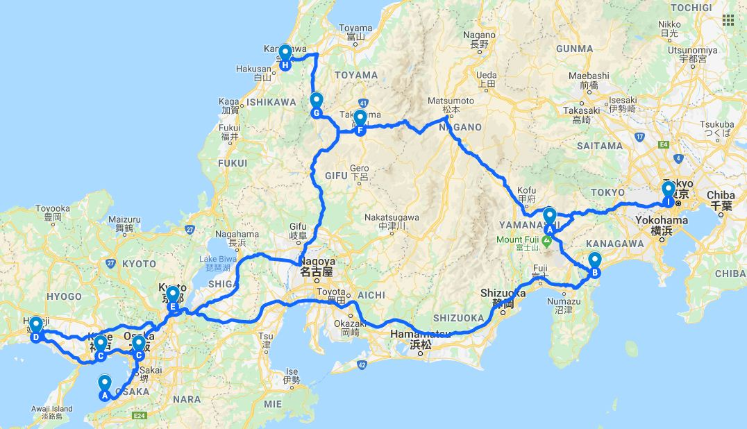 15 days in japan itinerary map