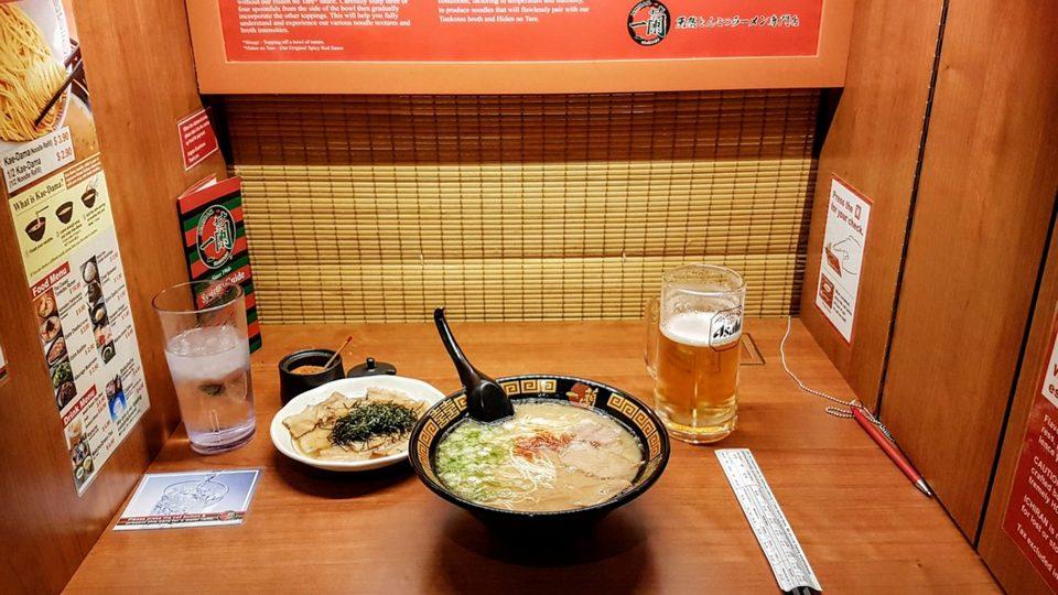 A set of Ramen noodles at Ichiran