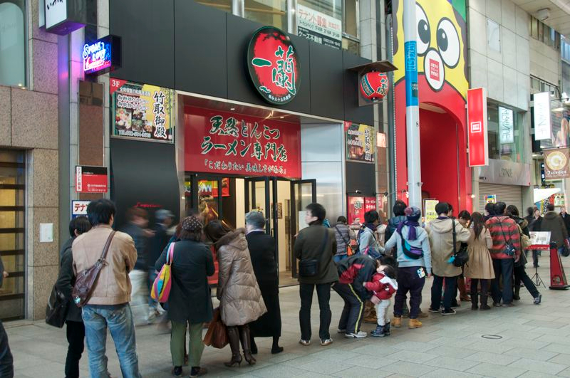 Long queue in Ichiran Hiroshima ramen