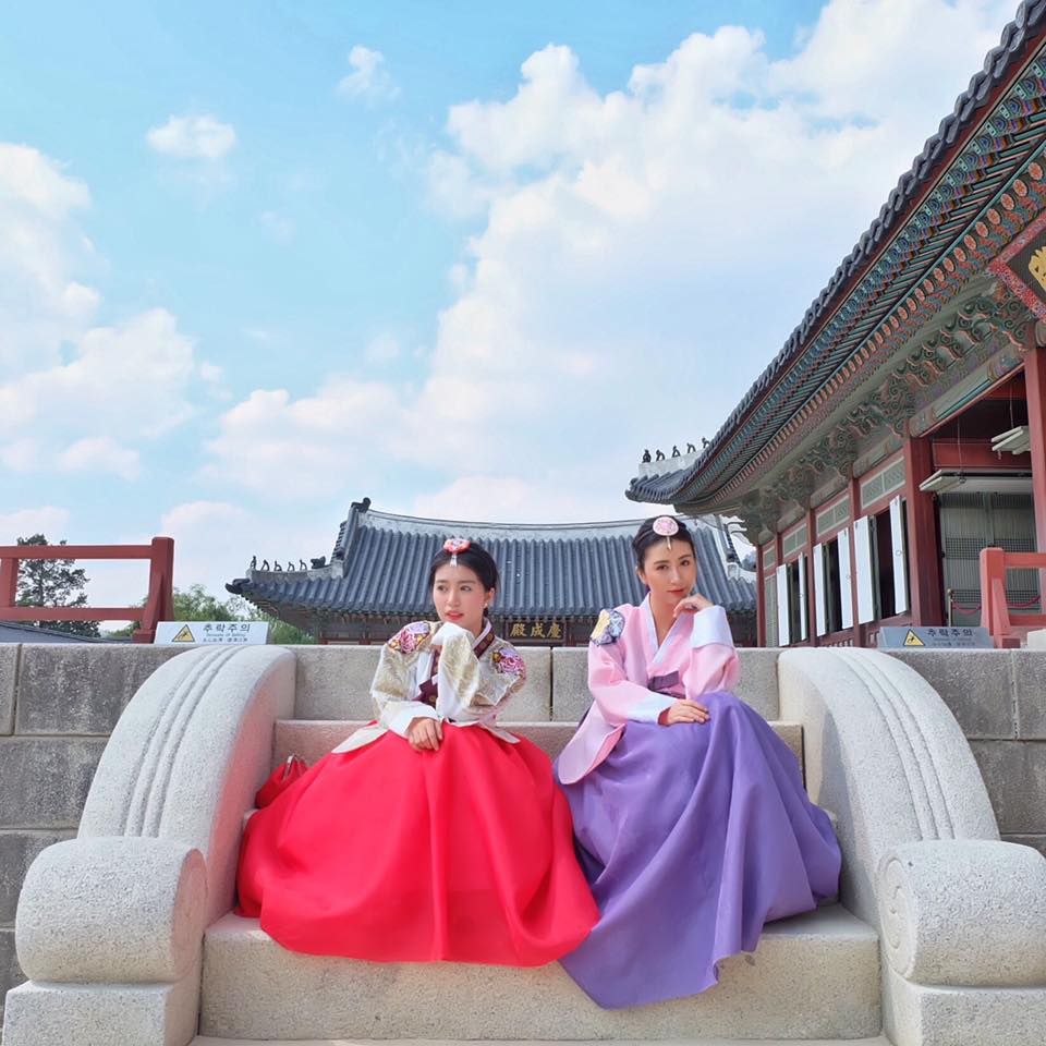 Exploring some attractions in Korea while wearing this traditional Hanbok.