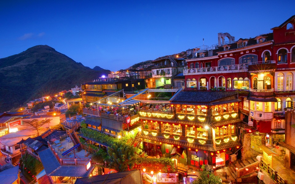 Jiufen Taipei night city lights Taiwan