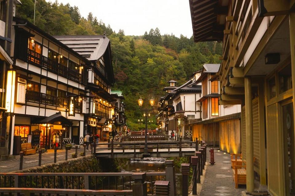 A fanciful scenery of Ginzan Onsen
