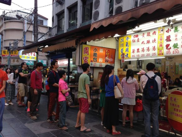 Crowded restaurants with the long queues