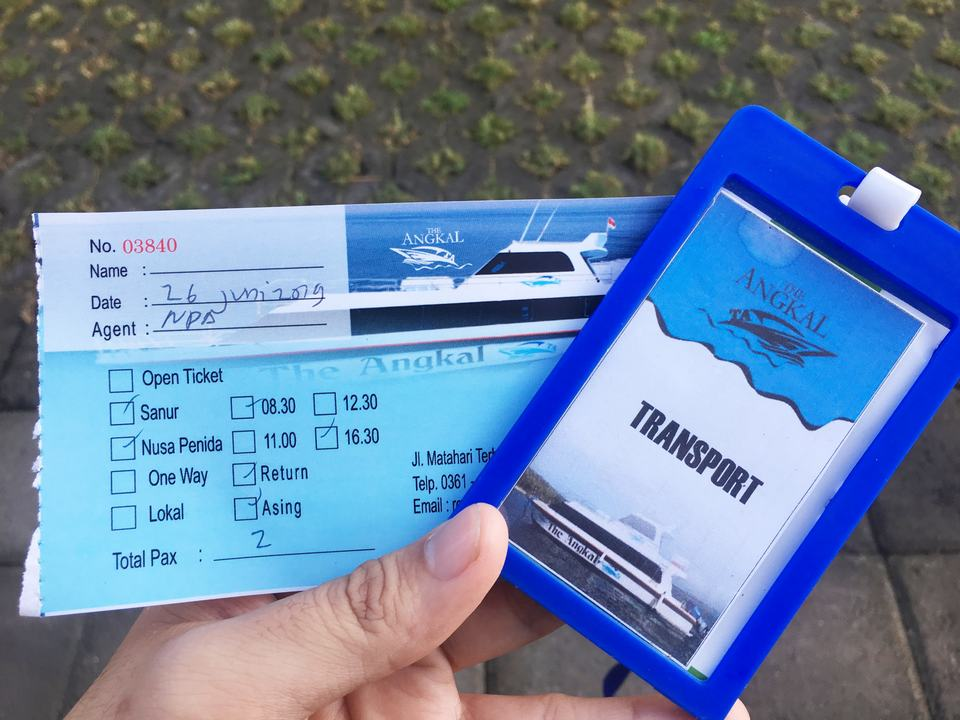 Close-up of a boat ticket to Nusa Penida island
