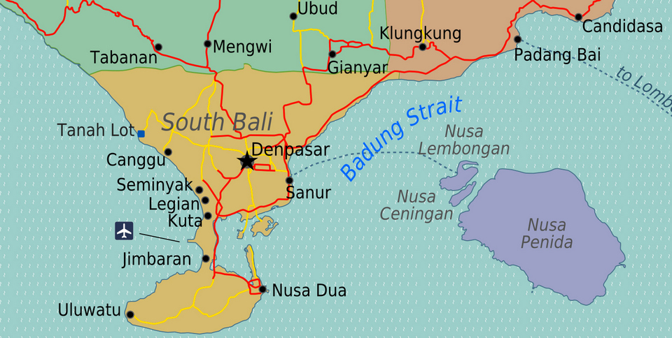 Map to direct to Sanur