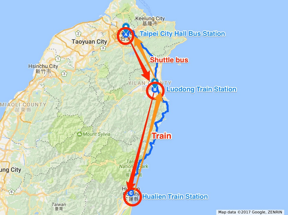 Route by bus and train to Hualien